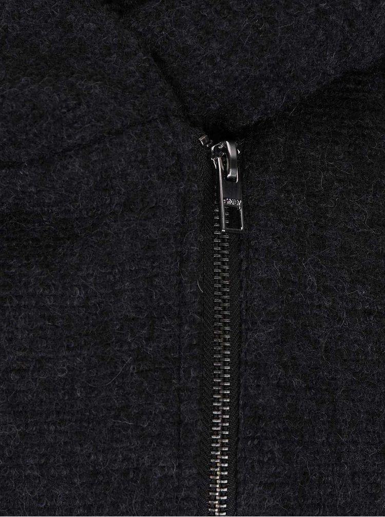 Černý vlněný kabát s koženkovými rukávy ONLY Lisford