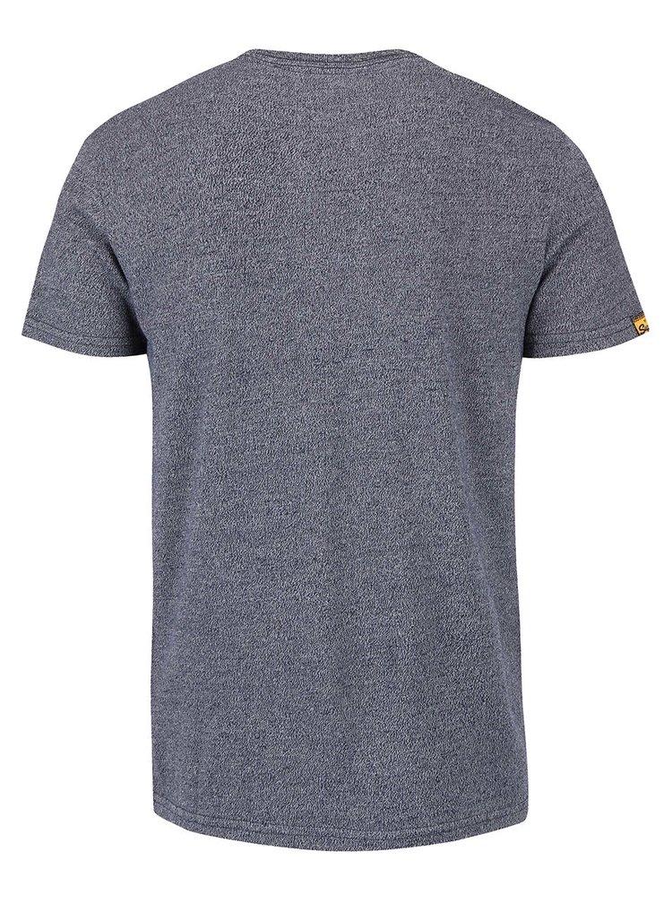 Modré pánské žíhané triko s potiskem Superdry