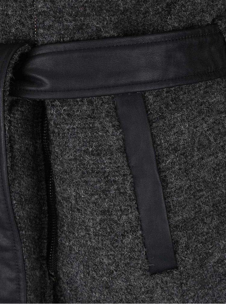 Tmavě šedý vlněný kabát ONLY Lisford