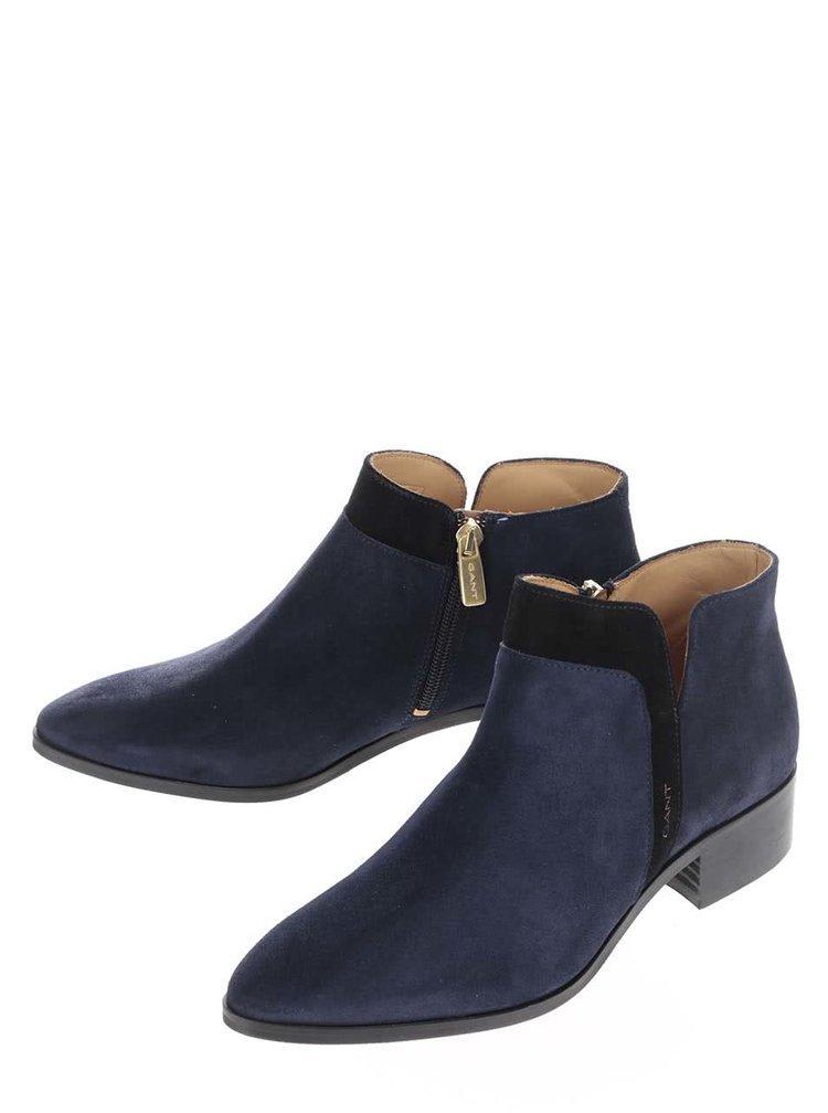 Tmavomodré dámske semišové členkové topánky GANT Lisa