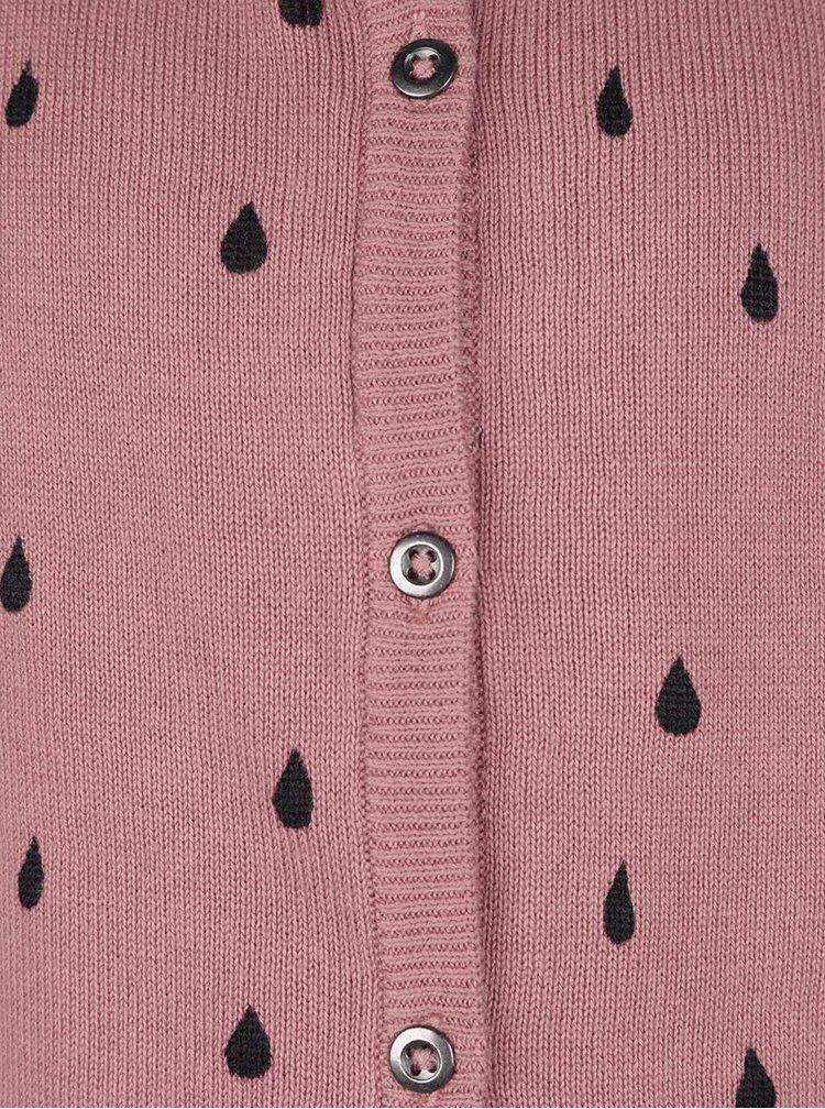 Růžový holčičí cardigan s potiskem kapek name it Nitwendy