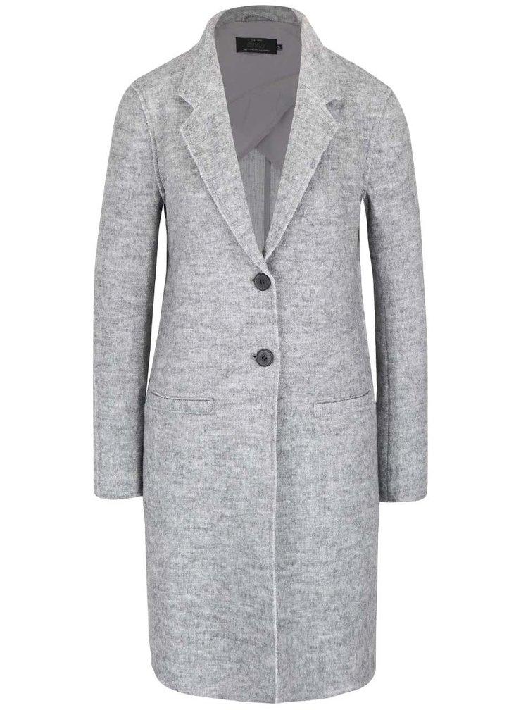 Svetlosivý melírovaný kabát s prímesou vlny ONLY Ella