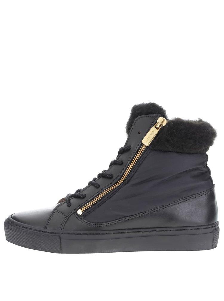 Černé dámské kožené kotníkové boty GANT Olivia