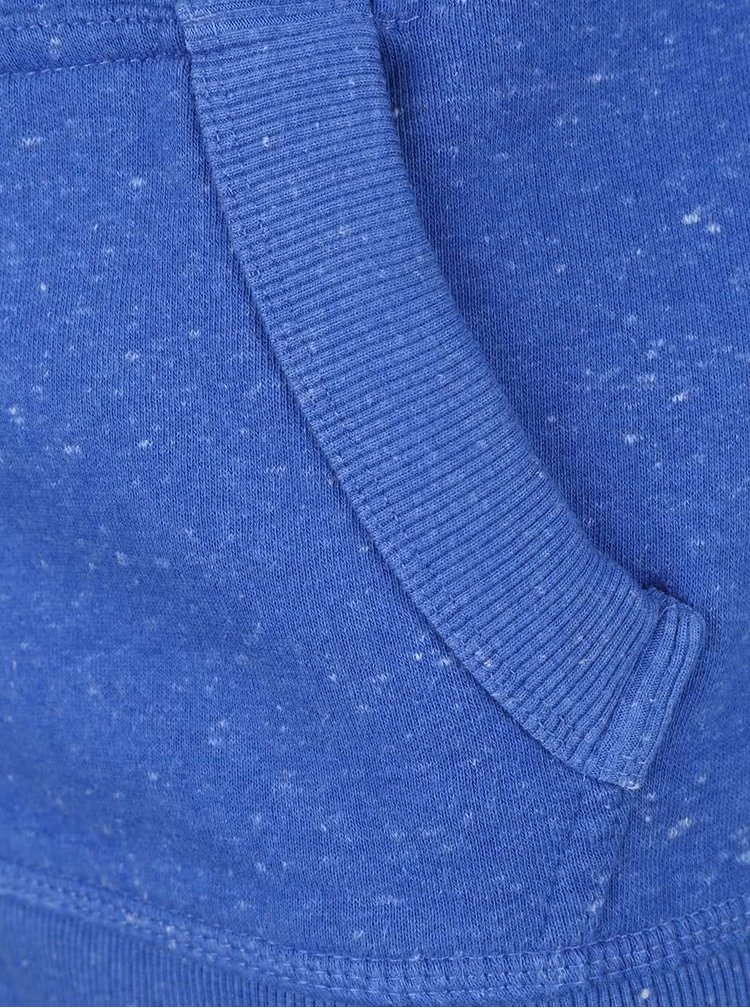 Modrá dámska mikina na zips s potlačou Superdry