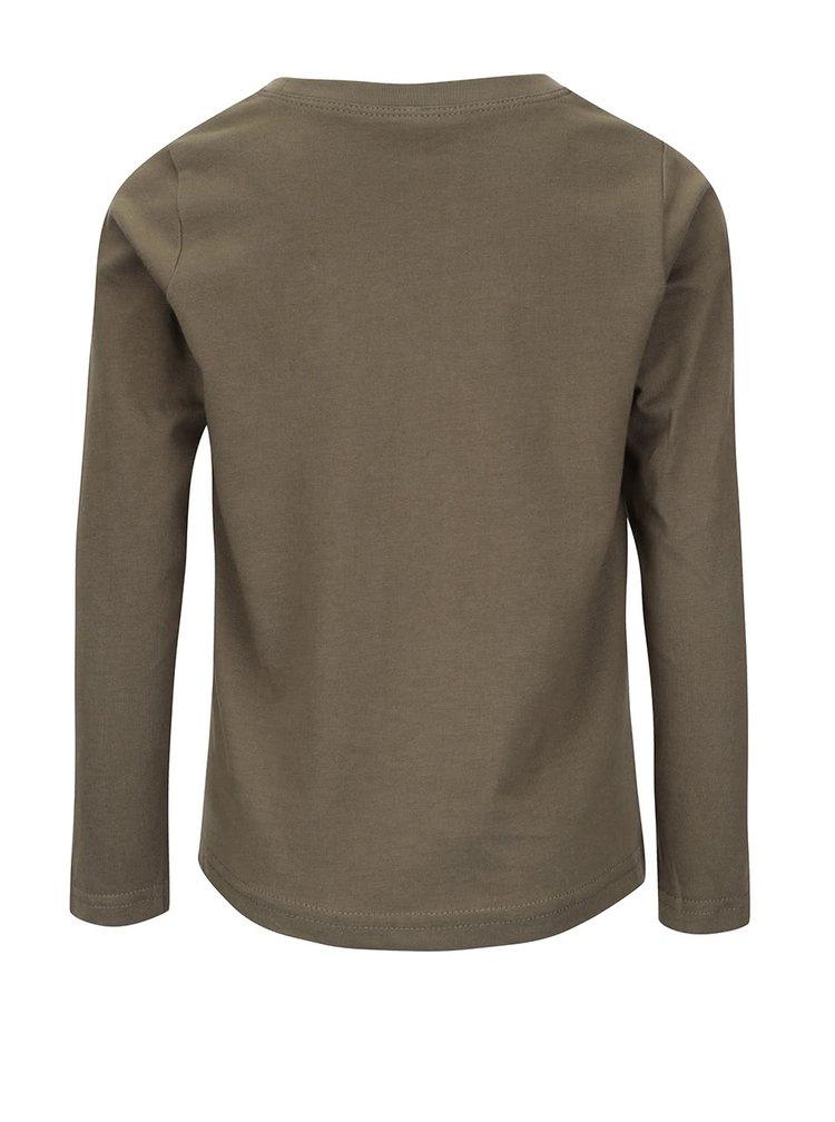 Khaki klučičí triko s dlouhými rukávy Name it Nitvictor