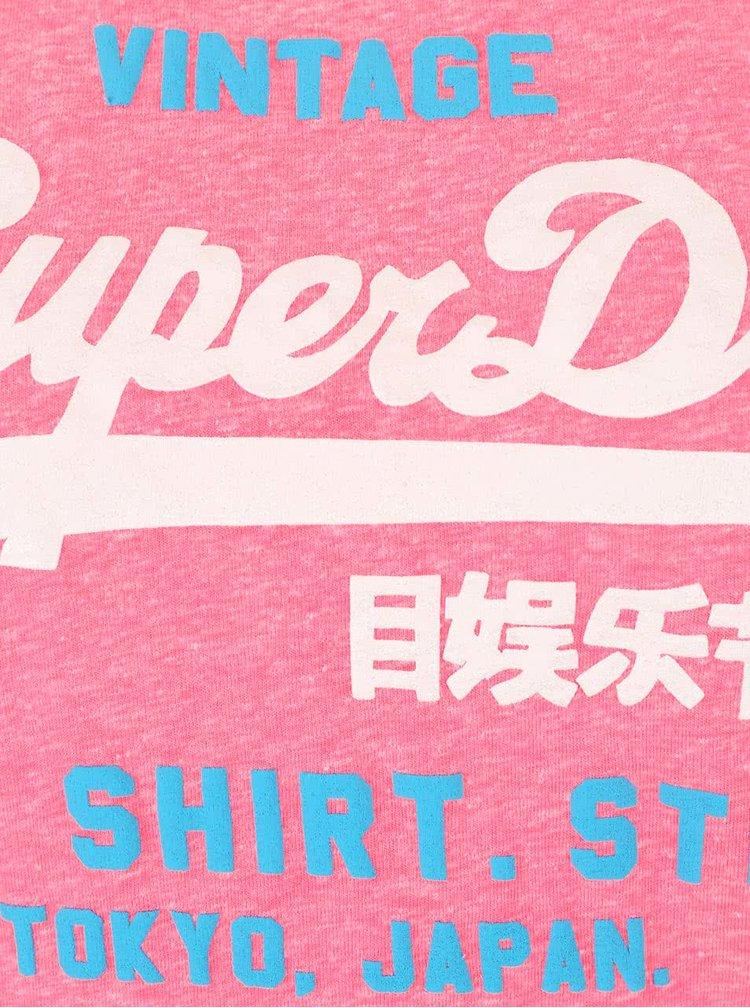 Růžové dámské žíhané tričko s nápisem Superdry