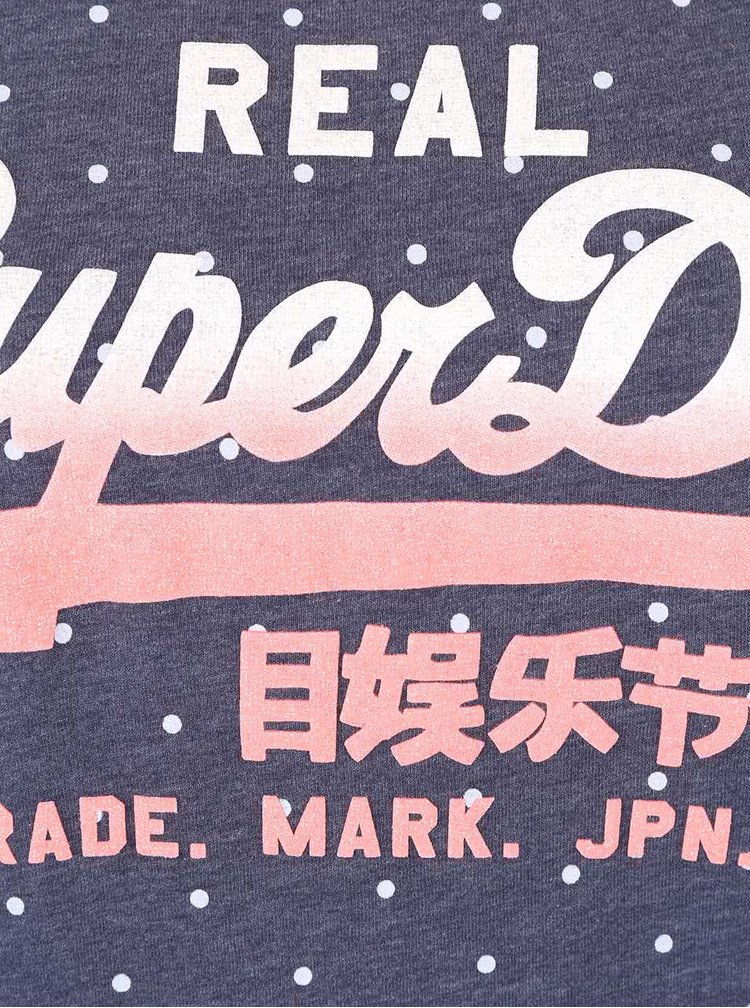 Tricou bleumarin Superdry cu buline