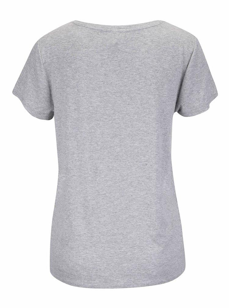 Šedé žíhané tričko s aplikací ONLY Alice