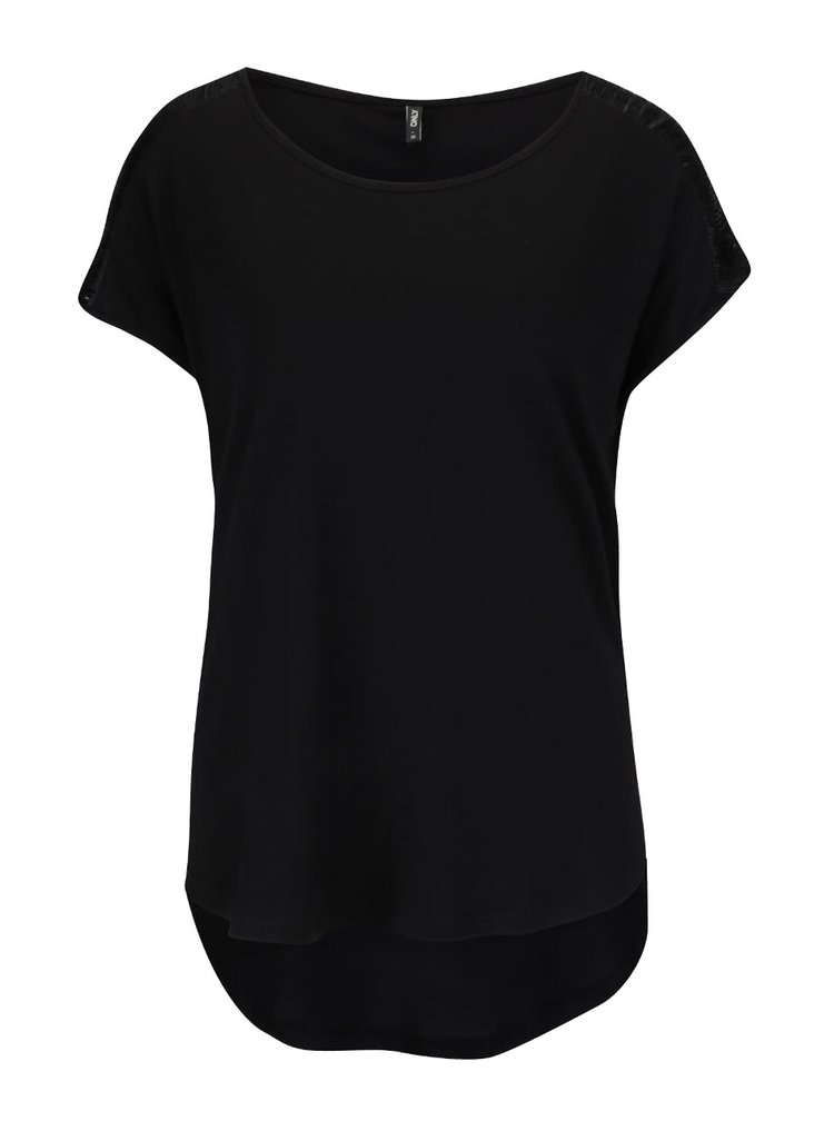 Čierne tričko so strapcami na ramenách ONLY Anabella