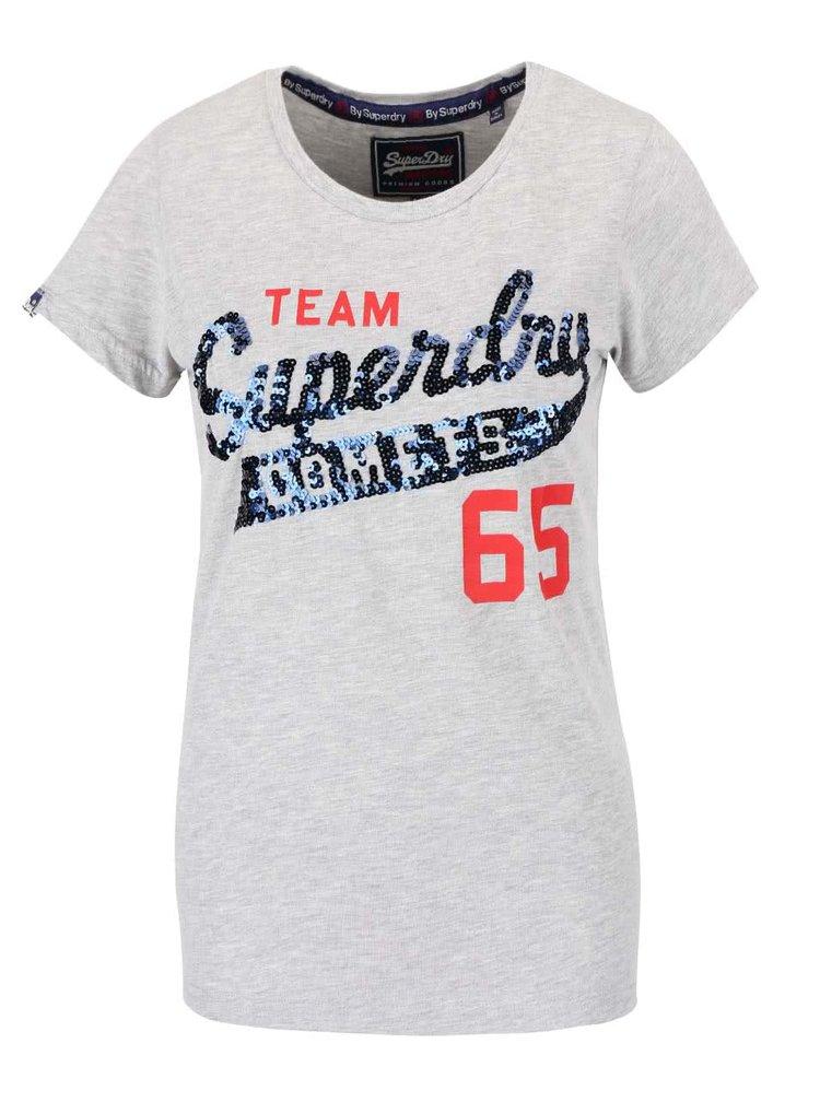 Svetlosivé dámske tričko s flitrami Superdry