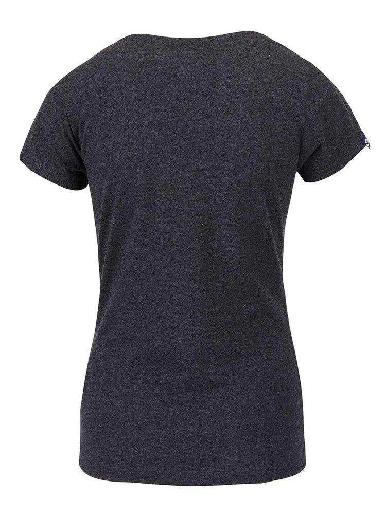 Tmavě šedé dámské tričko s flitry Superdry