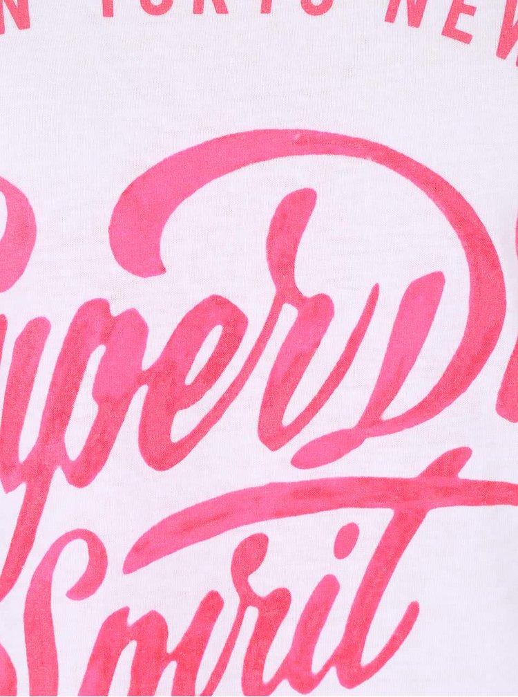 Bílé dámské tričko s růžovým potiskem Superdry