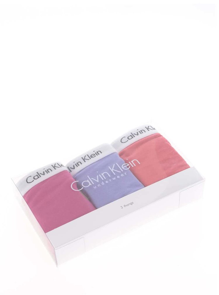 Sada tří tang v červené, fialové a růžové barvě Calvin Klein