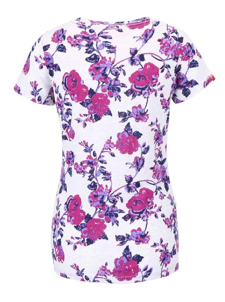 Krémové dámské květované tričko s nápisem Superdry