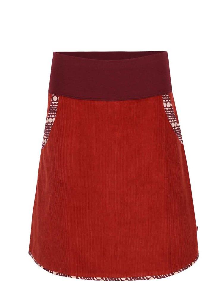 Cihlová manšestrová sukně s elastickým pasem Tranquillo Batu