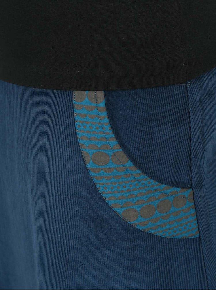 Petrolejová menčestrová sukňa s elastickým pásom Tranquillo Batu