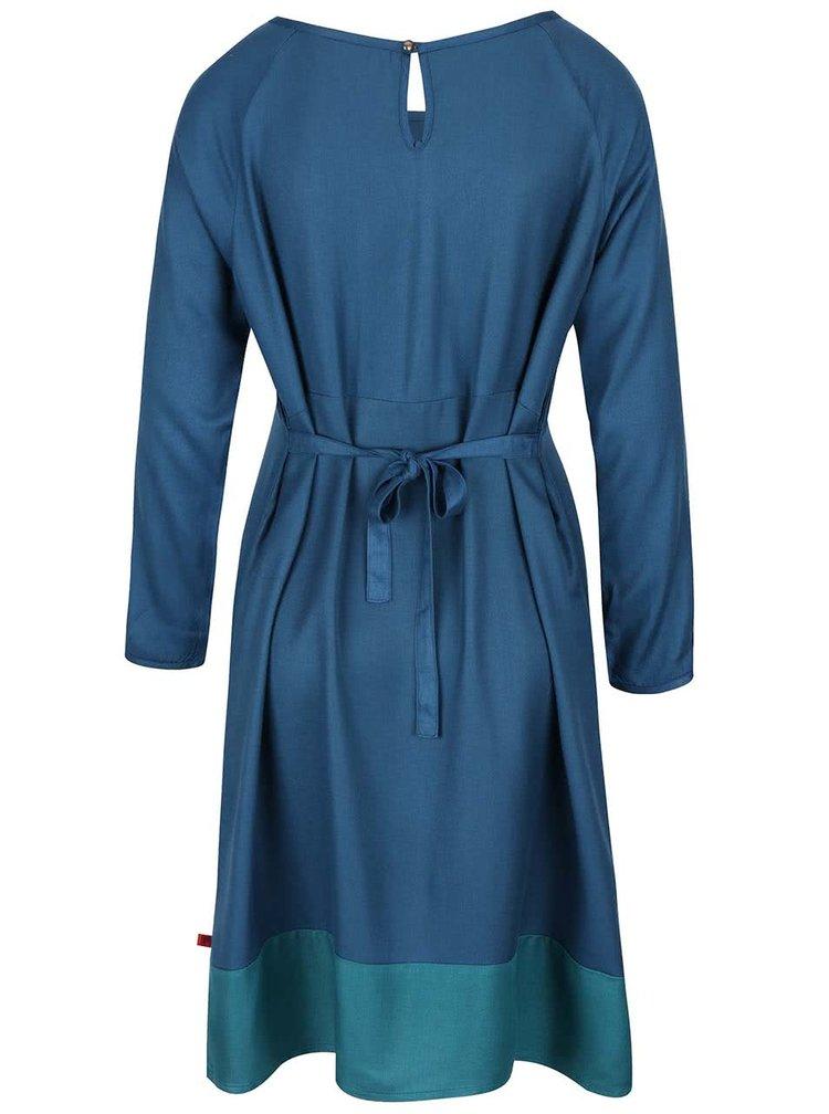 Petrolejové šaty s dlhým rukávom Tranquillo Emilia