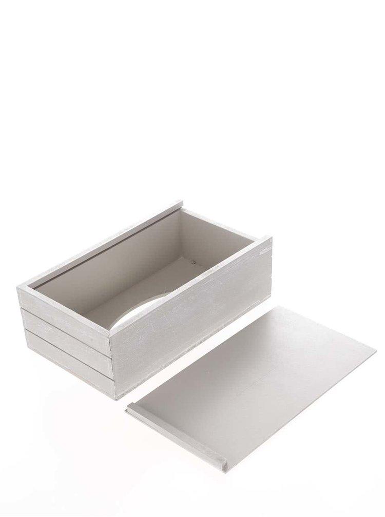 Šedá dřevěná krabička na kapesníky se srdíčky Dakls