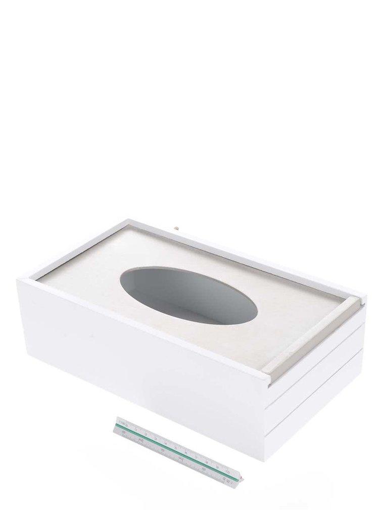 Šedo-bílá dřevěná krabička na kapesníky se srdíčky Dakls