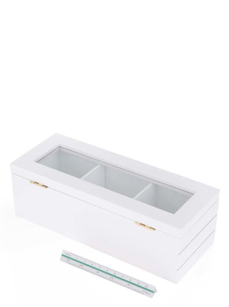 Bílá dřevěná krabička na čaj Dakls