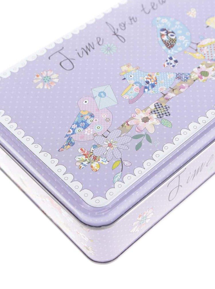 Cutie metalica alb-violet Dakls cu imprimeu