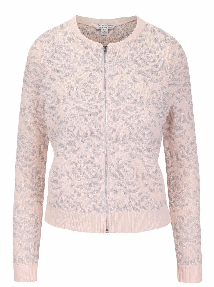 Ružový sveter na zips s detailmi v striebornej farbe Miss Selfridge