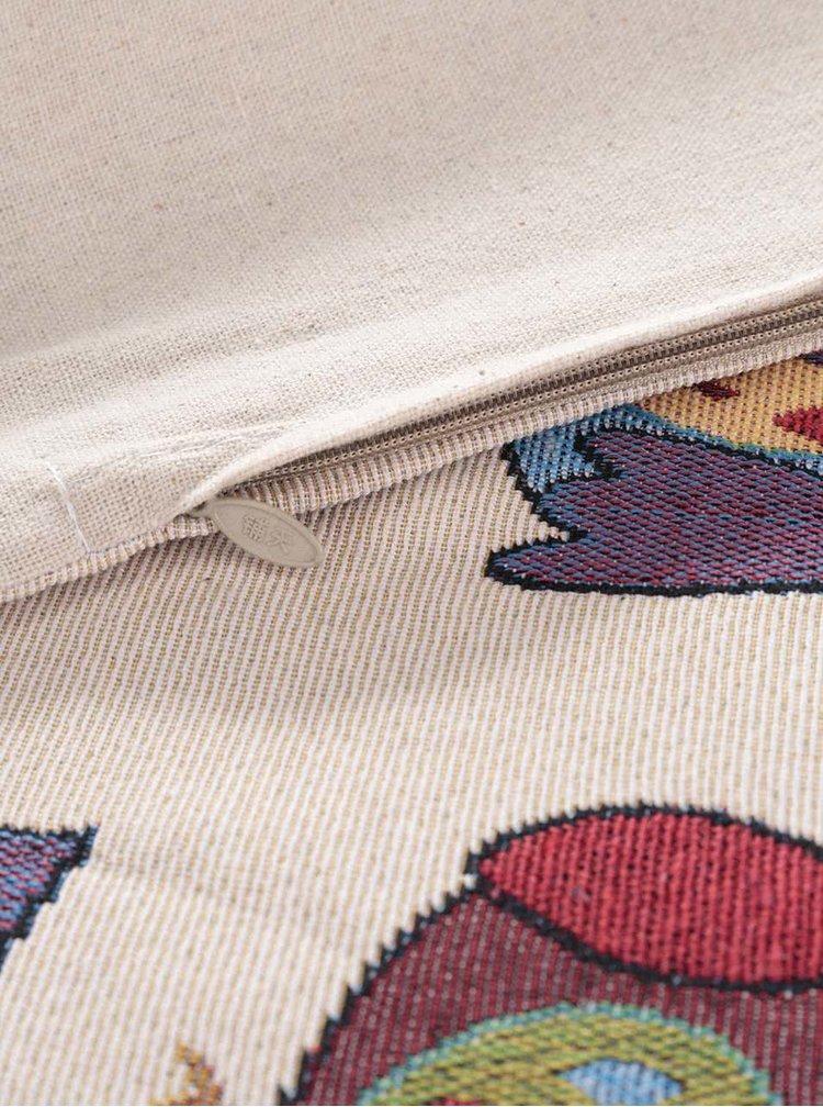 Béžová obliečka na vankúš s výšivkou sov Dakls