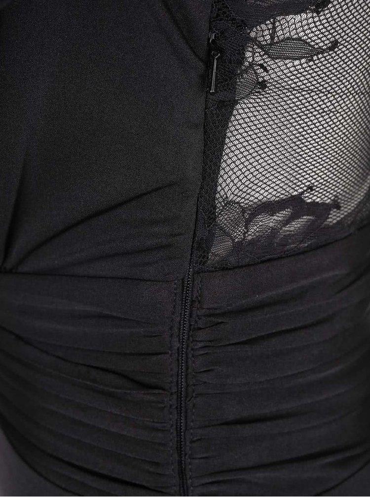 Rochie maxi Little Mistress neagră cu dantelă