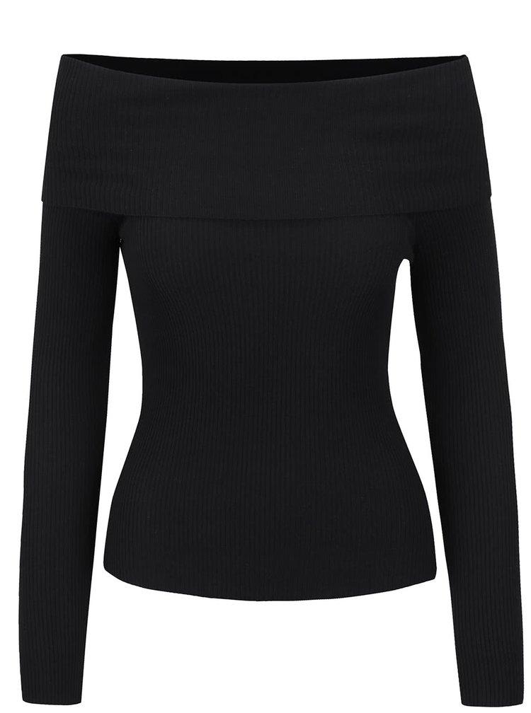 Černý svetr s odhalenými rameny Miss Selfridge