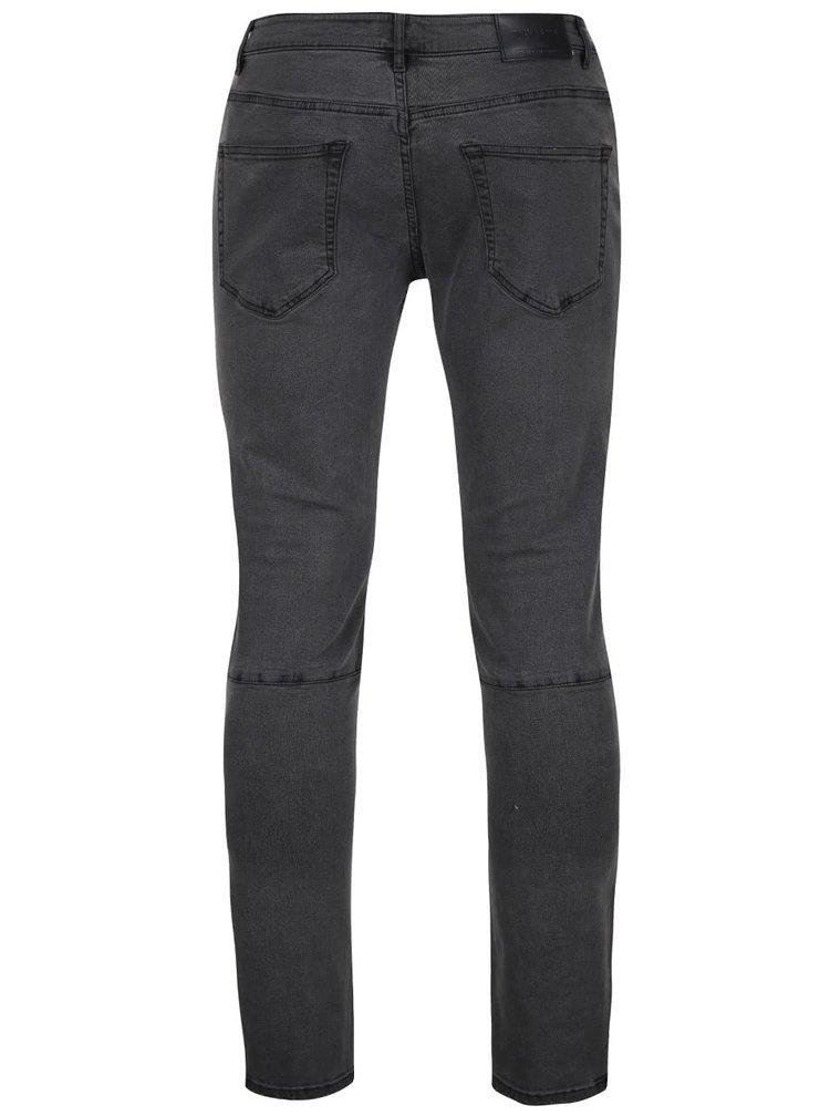 Tmavě šedé slim fit džíny s detaily ONLY & SONS Loom Biker