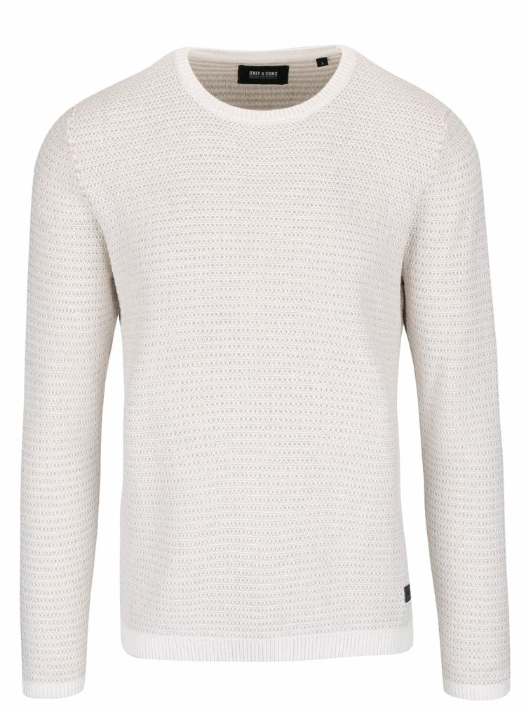 Krémový melírovaný ľahký sveter ONLY & SONS Dawson