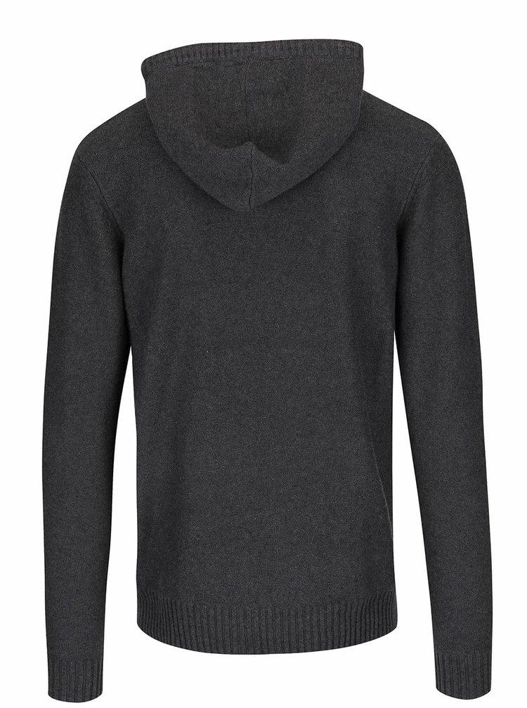 Tmavě šedý svetr s kapucí ONLY & SONS Daniel