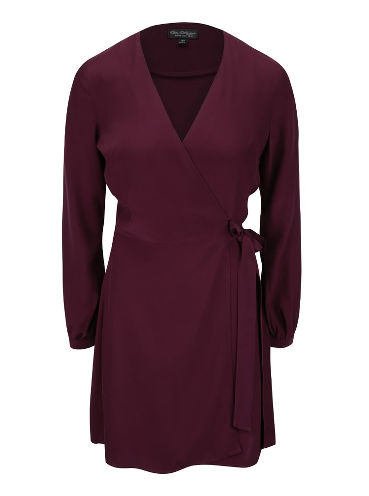 Vínové zavinovací šaty Miss Selfridge