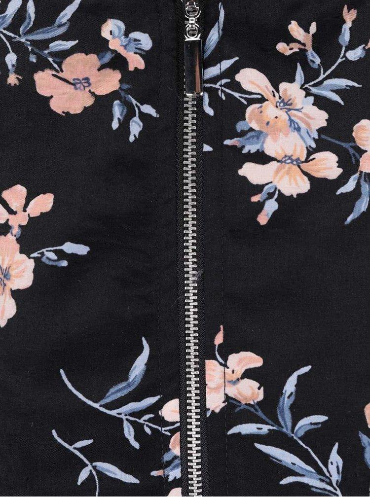 Jacheta bomber albastra & neagra Miss Selfridge cu motive florale