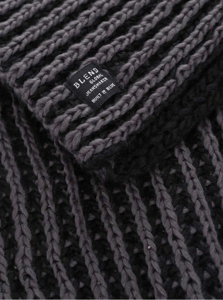 Šedo-černá pletená dutá šála Blend