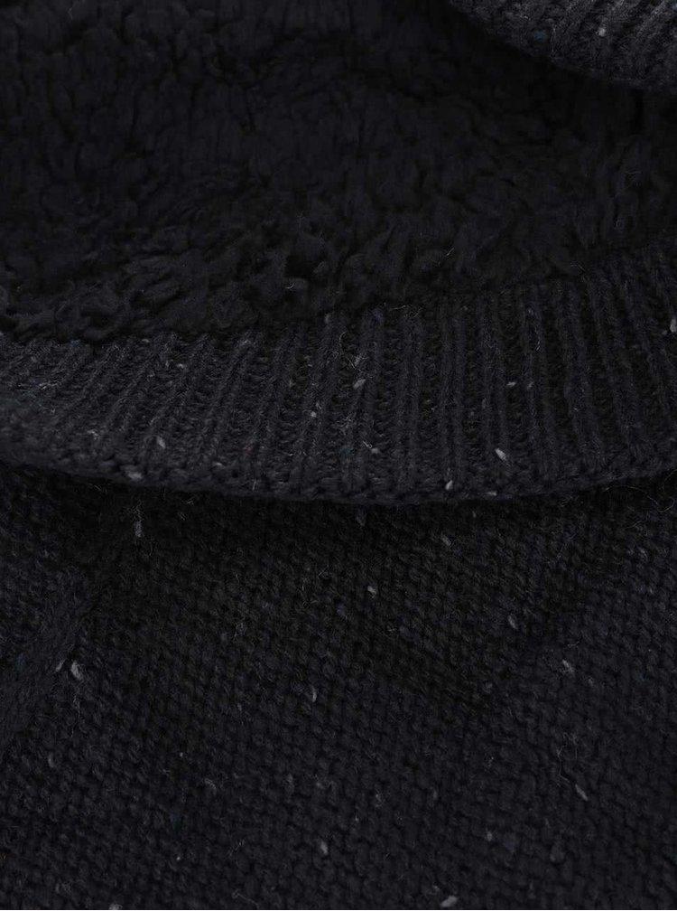 Čierny tunelový šál s pleteným vzorom Blend