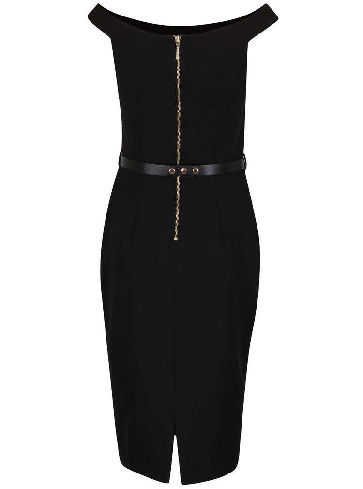 Čierne púzdrové šaty s opaskom Dorothy Perkins
