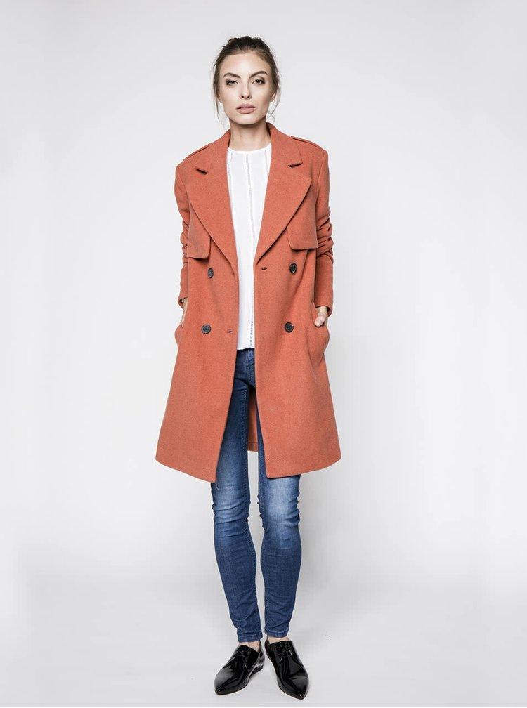 Oranžový vlnený kabát na dvojradé zapínanie VILA Maja