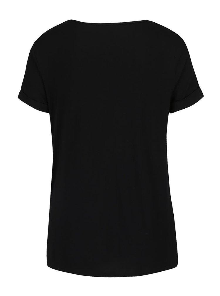 Čierne tehotenské tričko s potlačou Dorothy Perkins Maternity