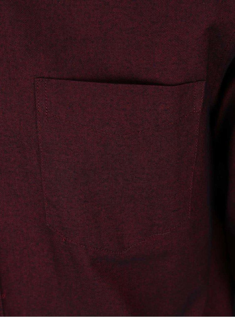 Vínová košeľa s dlhým rukávom Burton Menswear London