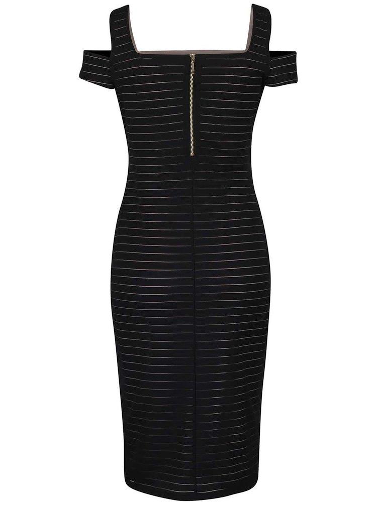 Černé pouzdrové šaty s pruhy Dorothy Prekins