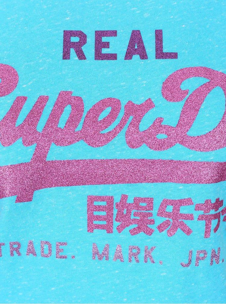 Tricou turcoaz Superdry  cu imprimeu