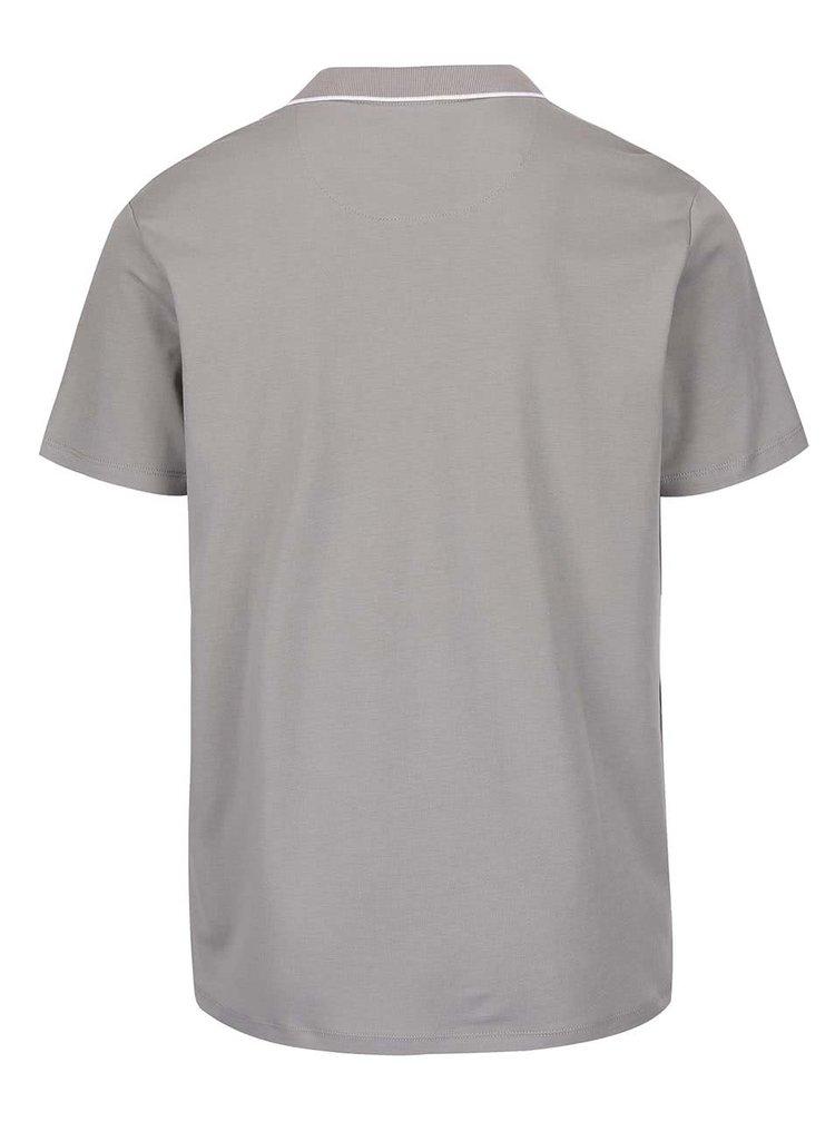Šedé polo triko se zipem Burton Menswear London