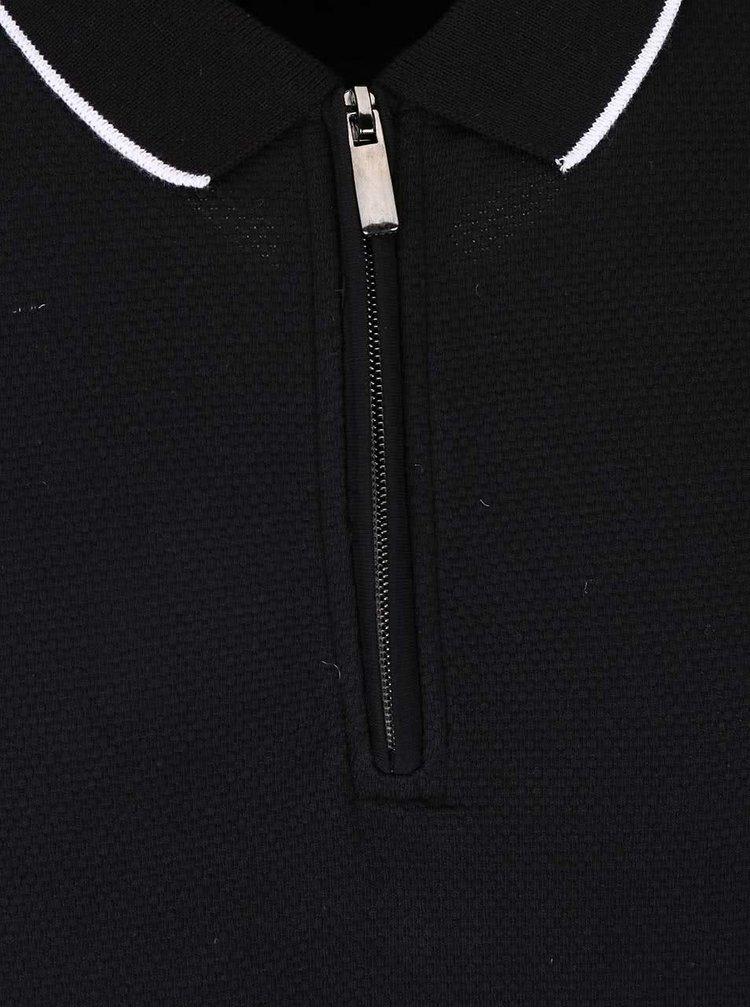 Černé polo triko se zipem Burton Menswear London