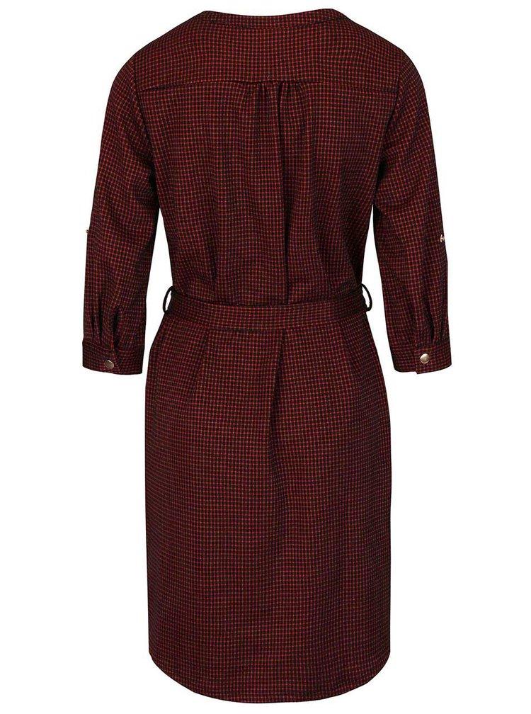 Čierno-červené kockované šaty s 3/4 rukávmi Dorothy Perkins