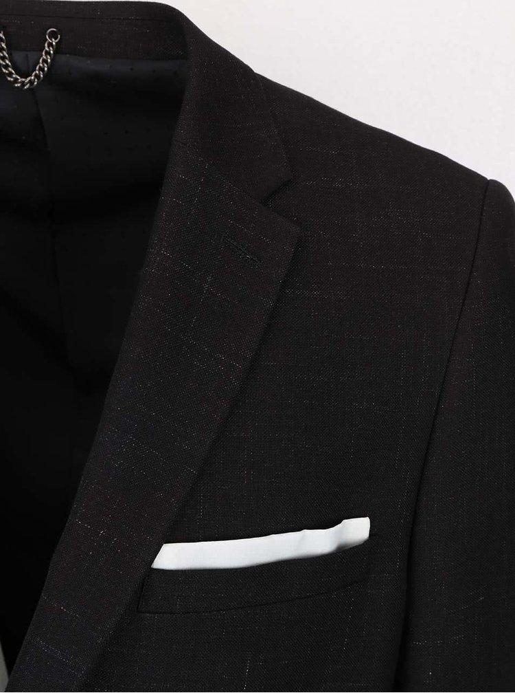 Černé žíhané oblekové skinny fit sako Burton Menswear London