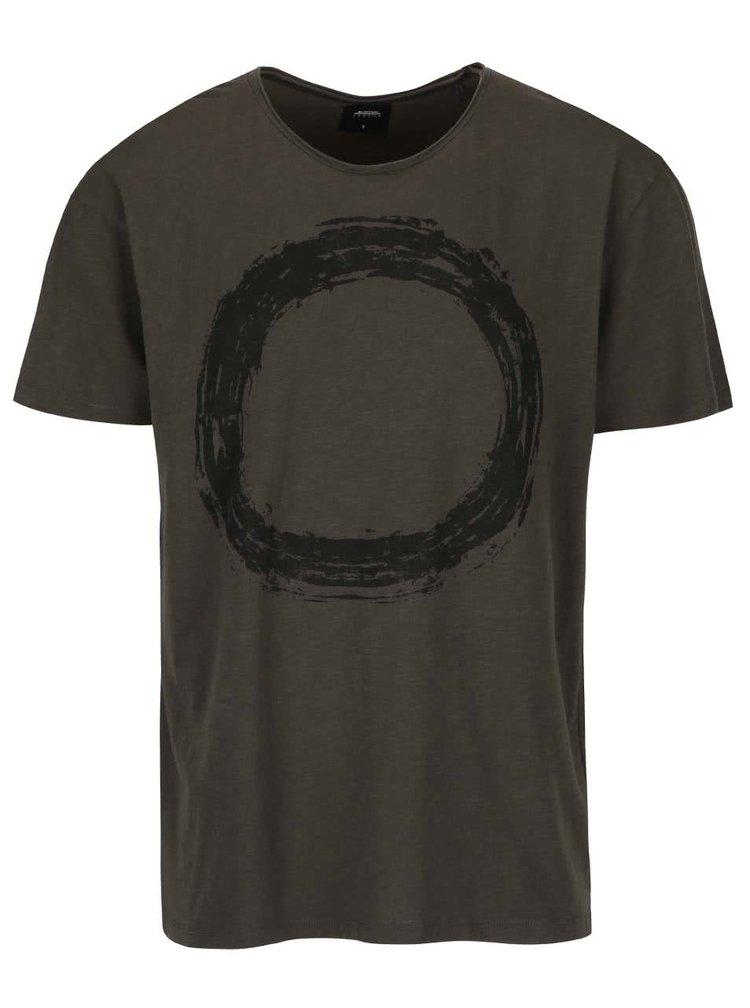 Kaki tričko s motívom kruhu Burton Menswear London
