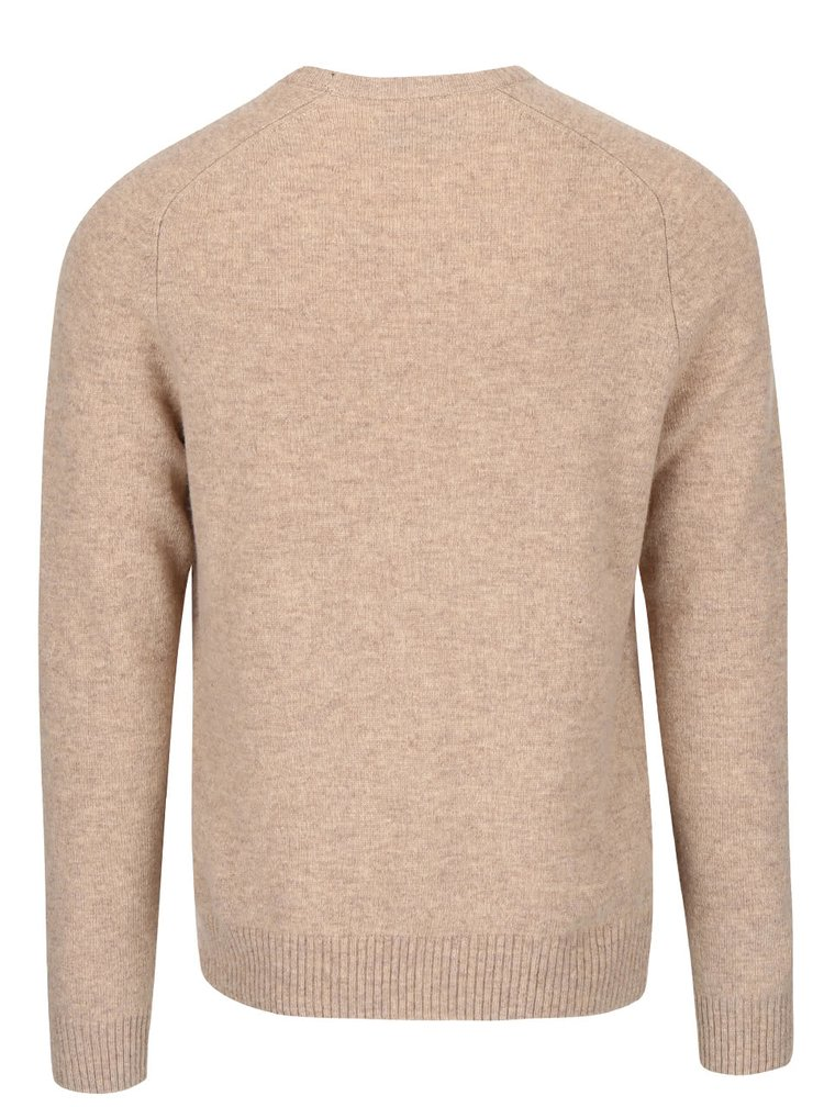 Svetlohnedý vlnený sveter Original Penguin Saddle Raglan