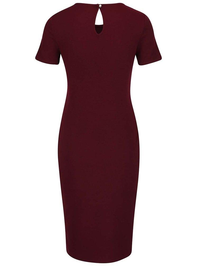 Vínové šaty s překládanou sukní Dorothy Perkins