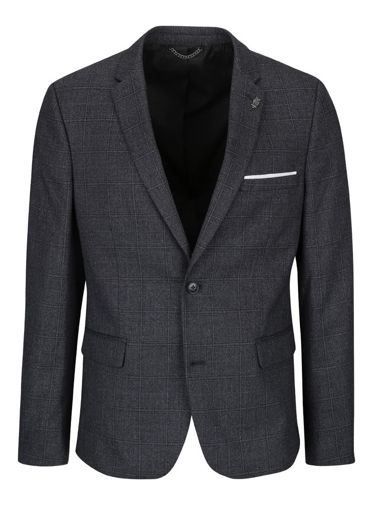 Sacou gri inchis Burton Menswear London cu model in carouri